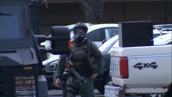 Murder suspect barricaded in Upland apartment