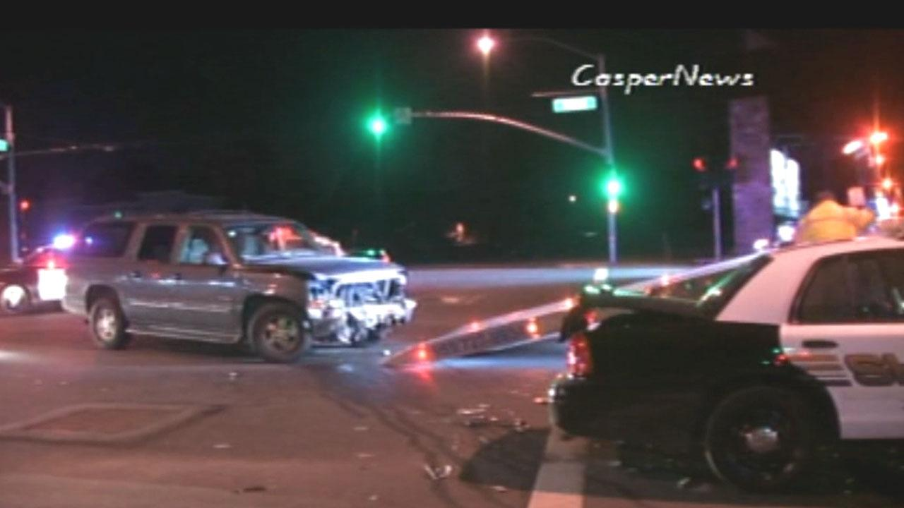 A Riverside County Sheriff sergeants unit collided with another car at Mission Boulevard and Opal Street in Rubidoux on Saturday, Jan. 12, 2013.