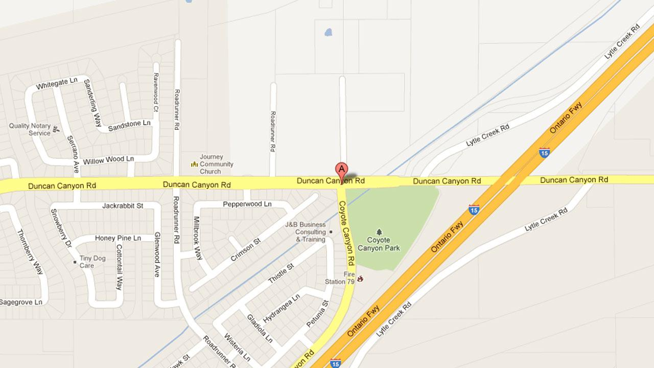 A map indicates the area near Duncan Canyon and Roadrunner roads in Fontana where two men were arrested for suspected arson and battery after assaulting a firefighter on Wednesday, Jan. 23, 2013.