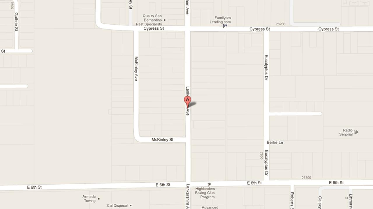 A map indicates the area near the 7800 block of Lankershim Avenue in Highland where Donald Scott Neeley, 25, was arrested for terrorist threats, assault with a firearm, and possession of an assault rifle on Friday, Feb. 1, 2013.