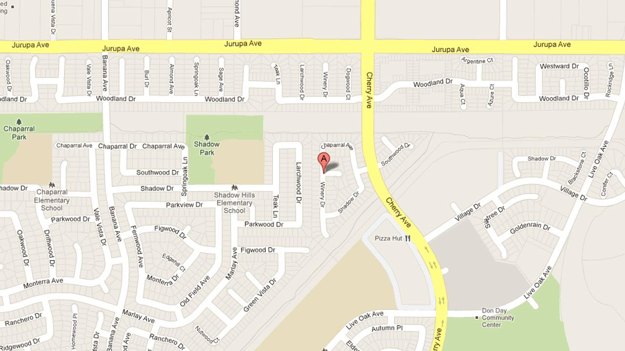 A map indicates the area near Cherry Avenue and Southwood Drive in Fontana where Daniel Flores, 30, was struck and killed by a vehicle after he stumbled into the street.
