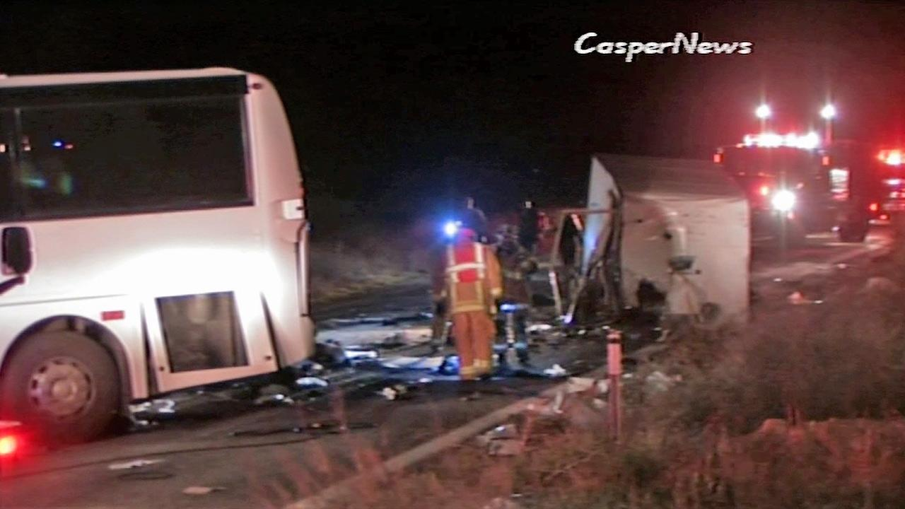 Rescue crews work at the scene of a deadly tour bus crash on State Route 38 north of Yucaipa on Sunday, Feb. 3, 2013. Several people were killed and at least 15 others were left in critical condition.