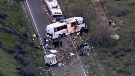 An aerial view of the scene of a deadly tour bus crash on State Route 38 north of Yucaipa that took place on Sunday, Feb. 3, 2013. Eight people were killed and 38 others were hurt.