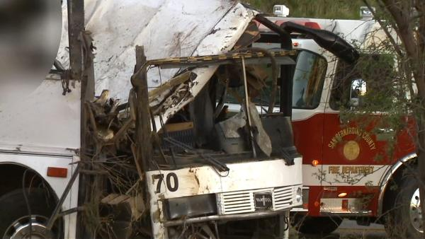 The wreckage of a tour bus the day after it crashed on State Route 38 north of Yucaipa on Sunday, Feb. 3,