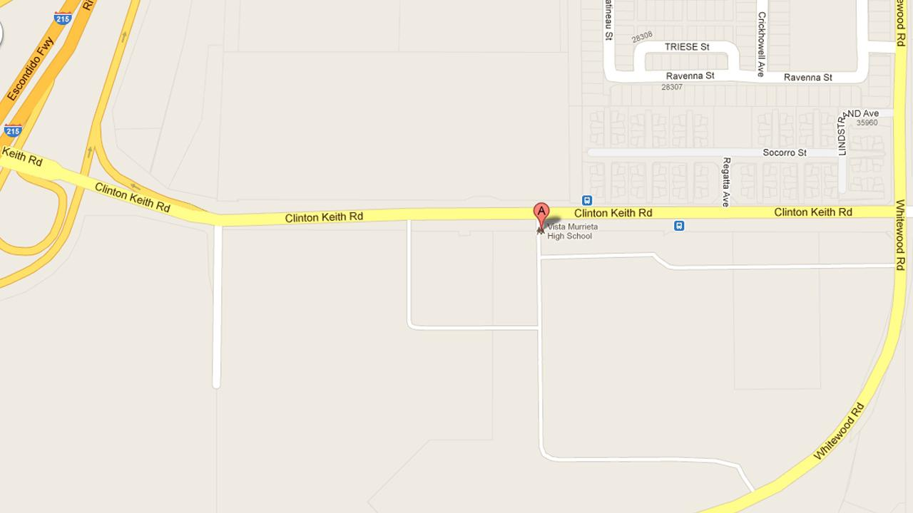 A map show the location of Vista Murrieta High School.