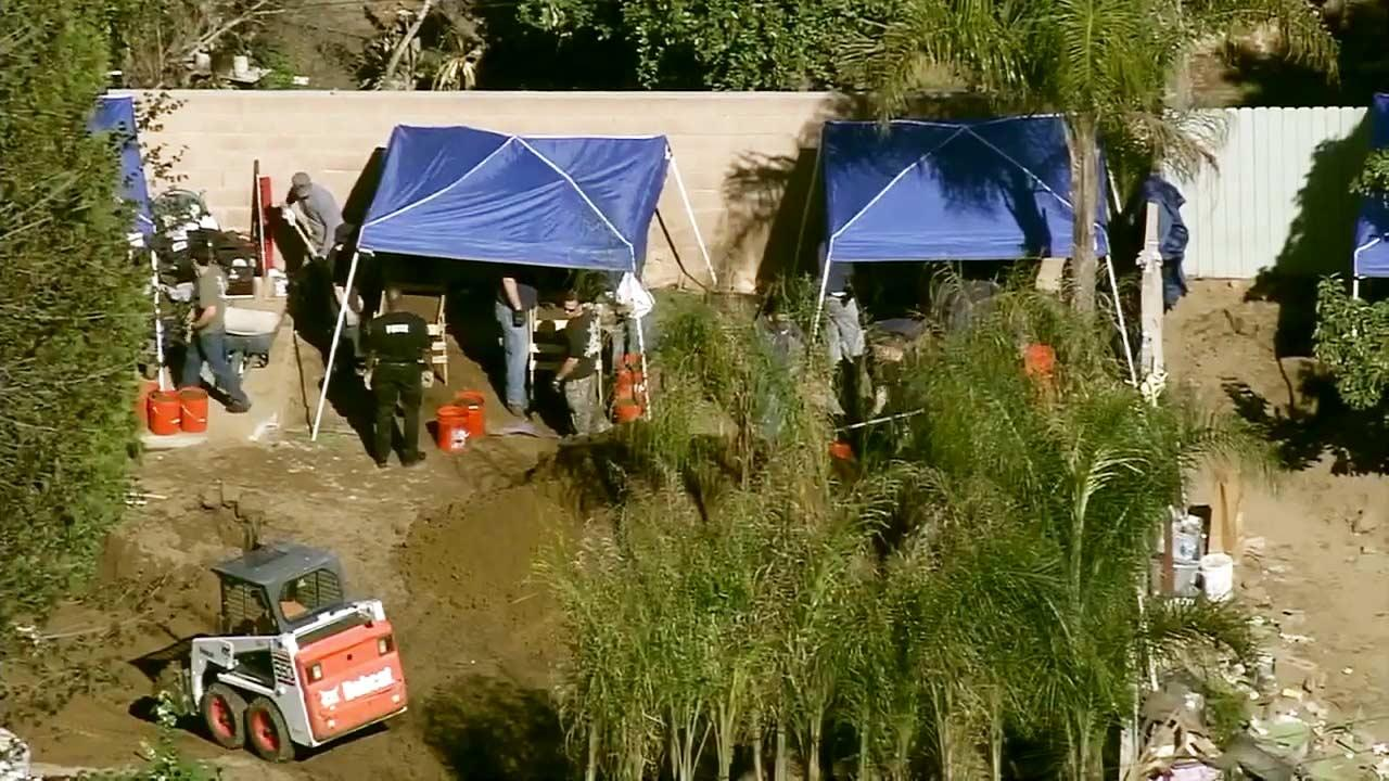 Authorities have been excavating a yard on the 1700 block of South Palm Avenue in Ontario while searching for Oscar Javier Contreras Escobar.