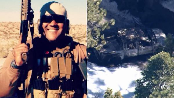 LEFT: Chris Dorner, suspected of murdering an Irvine couple and shooting three police officers in the Inland Empire, is seen in this undated photo.  RIGHT: Dorner's burned-out pickup truck was found Thursday afternoon, Feb. 7, near Bear Mountain.