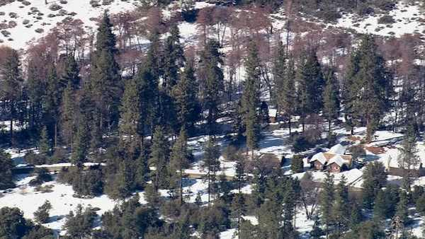 The scene of the latest possible sighting of fugitive murder suspect Chris Dorner, Tuesday, Feb. 12, 2013.
