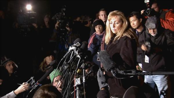 Cindy Bachman, the San Bernardino County Sheriff's Department spokeswoman, addresses members of the news media on the latest information in the Chris Dorner manhunt on Tuesday, Feb. 12, 2013.