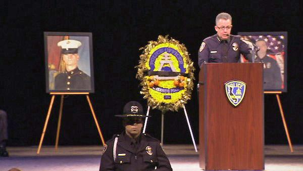 Riverside Police Chief Sergio Diaz speaks at a funeral service for Officer Michael Crain on Wednesday, Feb. 13, 2013. The 34-year-old was gunned down in an alleged ambush by former LAPD officer Chris Dorner on Thursday, Feb. 7, 2013.
