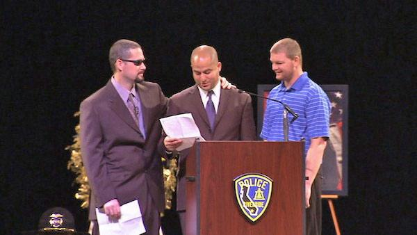 Brother Jason Crain and friends speak at a funeral service at Grove Community Church in Riverside for Officer Michael Crain on Wednesday, Feb. 13, 2013.