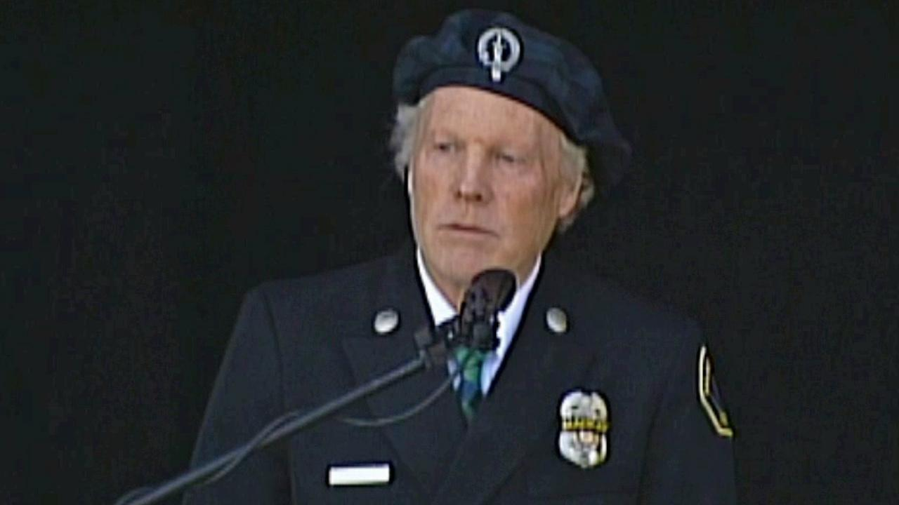 Detective Jeremiah MacKays father, Alan MacKay, speaks at his sons funeral service on Thursday, Feb. 21, 2013.