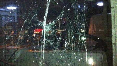 A 17-year-old boy is facing vandalism charges after he jumped in front of a Redlands Fire Department engine and struck the windshield with his head and fists on Saturday, March 2, 2013.