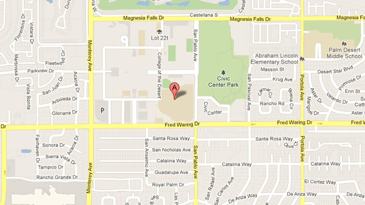 A map indicates the location of the College of the Desert in Palm Desert.