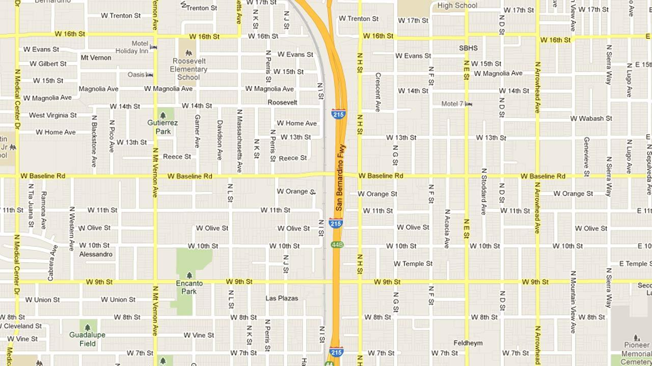 A map indicates the area near Baseline Street and the Interstate 215 overpass in San Bernardino where a man was wounded in a car-to-car shooting Friday, March 30, 2013.