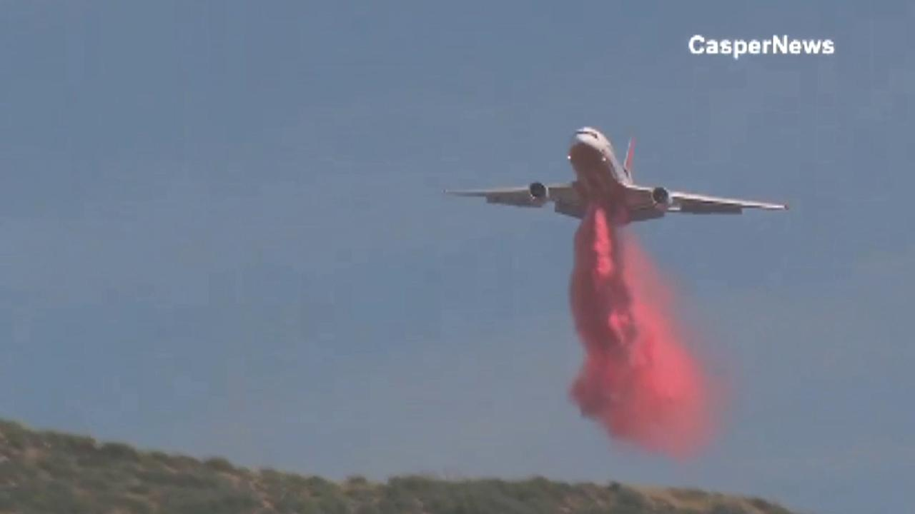 An aircraft drops fire retardant over the Gorgonio Fire south of Banning on Saturday, May 4, 2013.