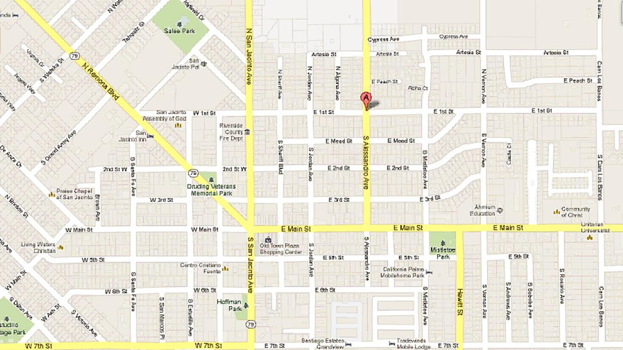 A map indicates the location of a disturbance call in the 100 block of North Alessandro Avenue in San Jacinto on Saturday, May 18, 2013.