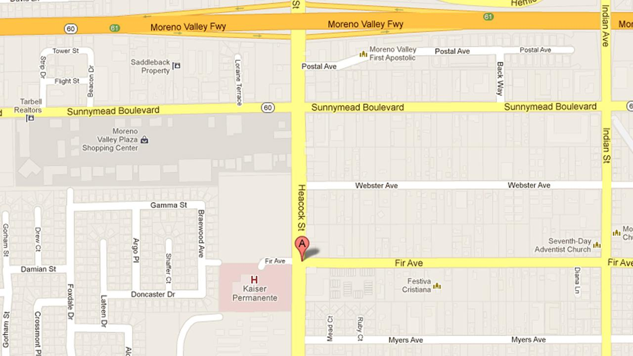 A map indicates the location of an officer-involved shooting in the 24000 block of Fir Avenue in Moreno Valley on Saturday, May 18, 2013.