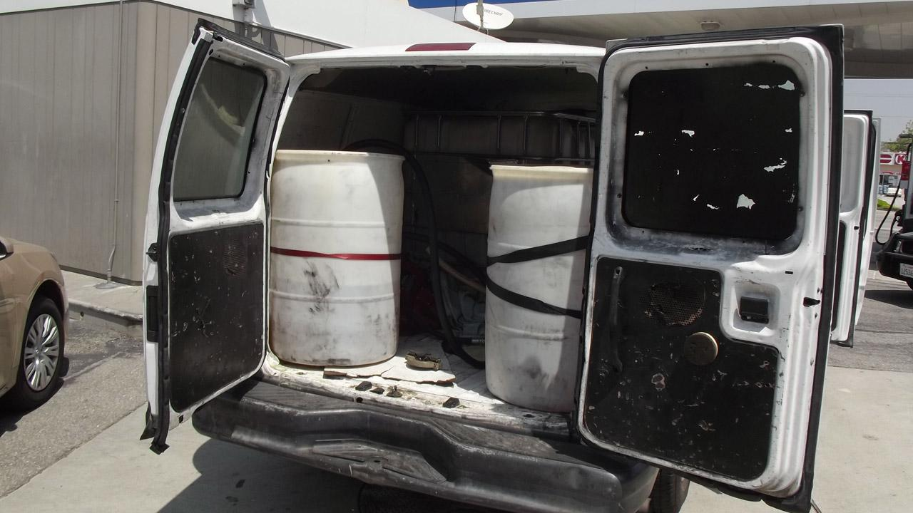 The van allegedly used to steal gas is seen in this photo provided by police.