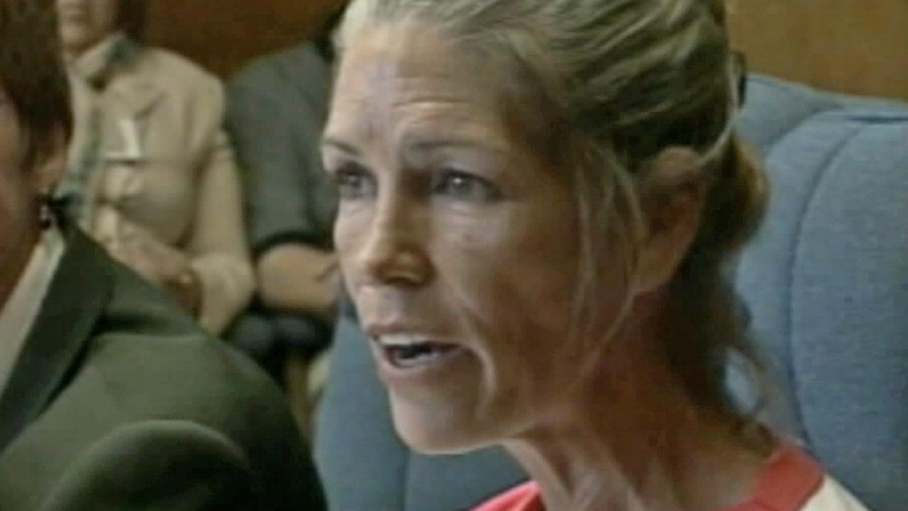 Leslie Van Houten appears before a parole board at California Institution for Women in Chino in this undated file photo.