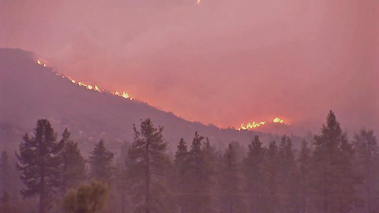 A brush fire near Idyllwild continues to burn Tuesday, July 16, 2013.