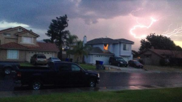 ABC7 viewer @MadamJbomb sent in this photo of lightning in San Bernardino County via Twitter on Monday, Aug. 19, 2013.