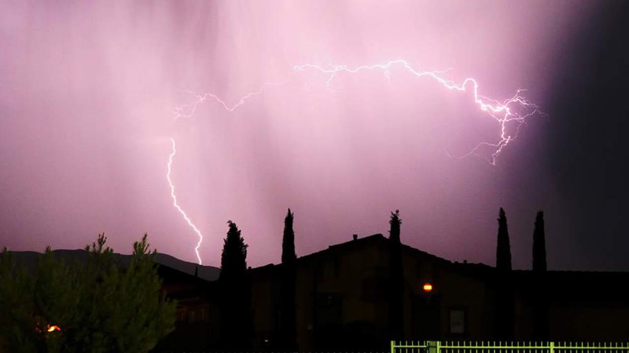 ABC7 viewer Robin Carrillo-Alvarado sent in this photo of lightning in San Bernardino County via Facebook on Monday, Aug. 19, 2013.