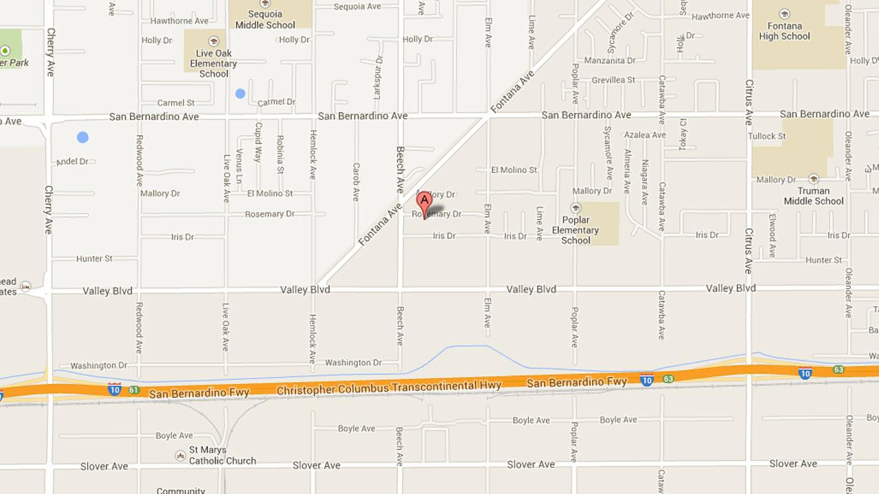 A map indicates the location of a possible murder-suicide incident in Fontana that left two people dead on Saturday, Aug. 31, 2013.