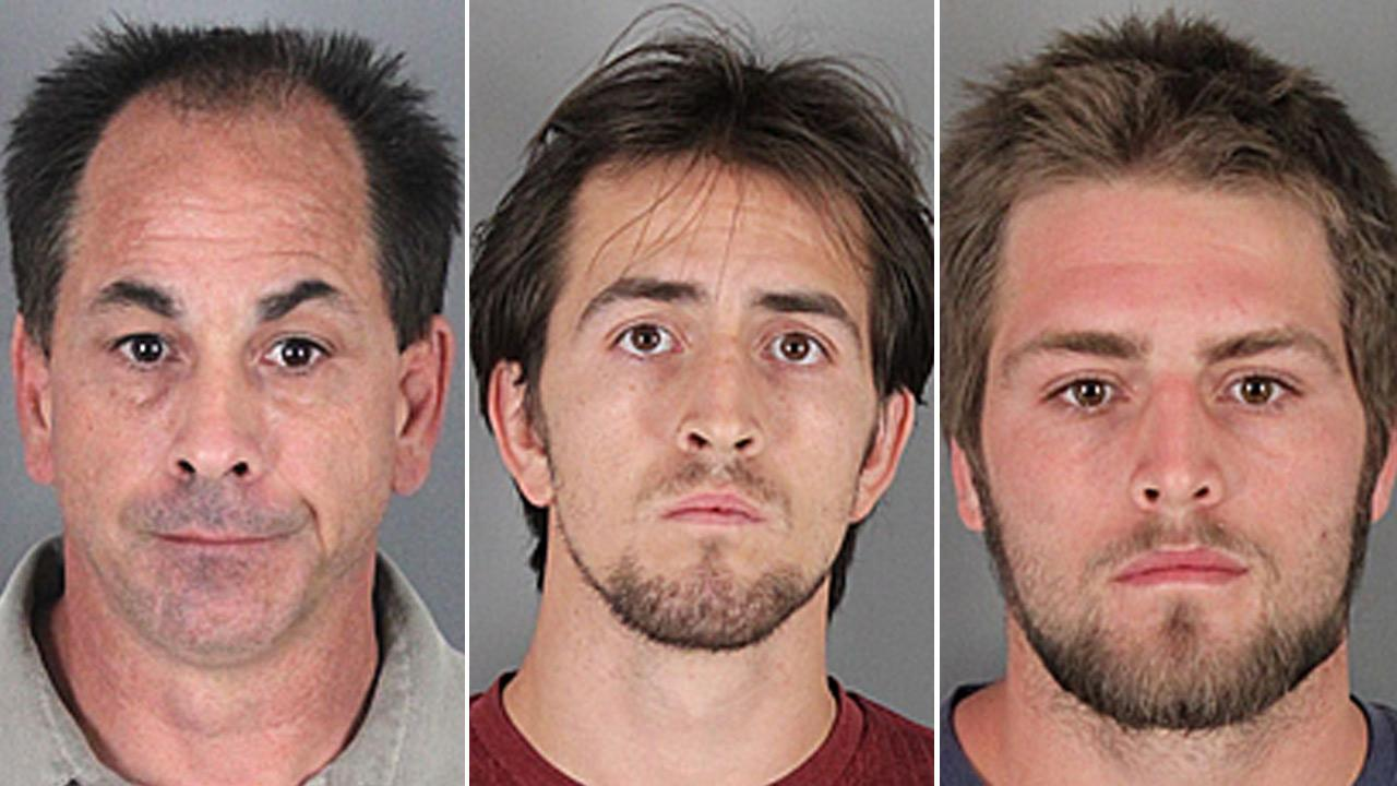 Bruce Borynack, 49, Zachariah Borynack, 25, and Zephaniah Borynack, 23, all from Cherry Valley, are shown in booking photos from the Riverside County Sheriffs Department.
