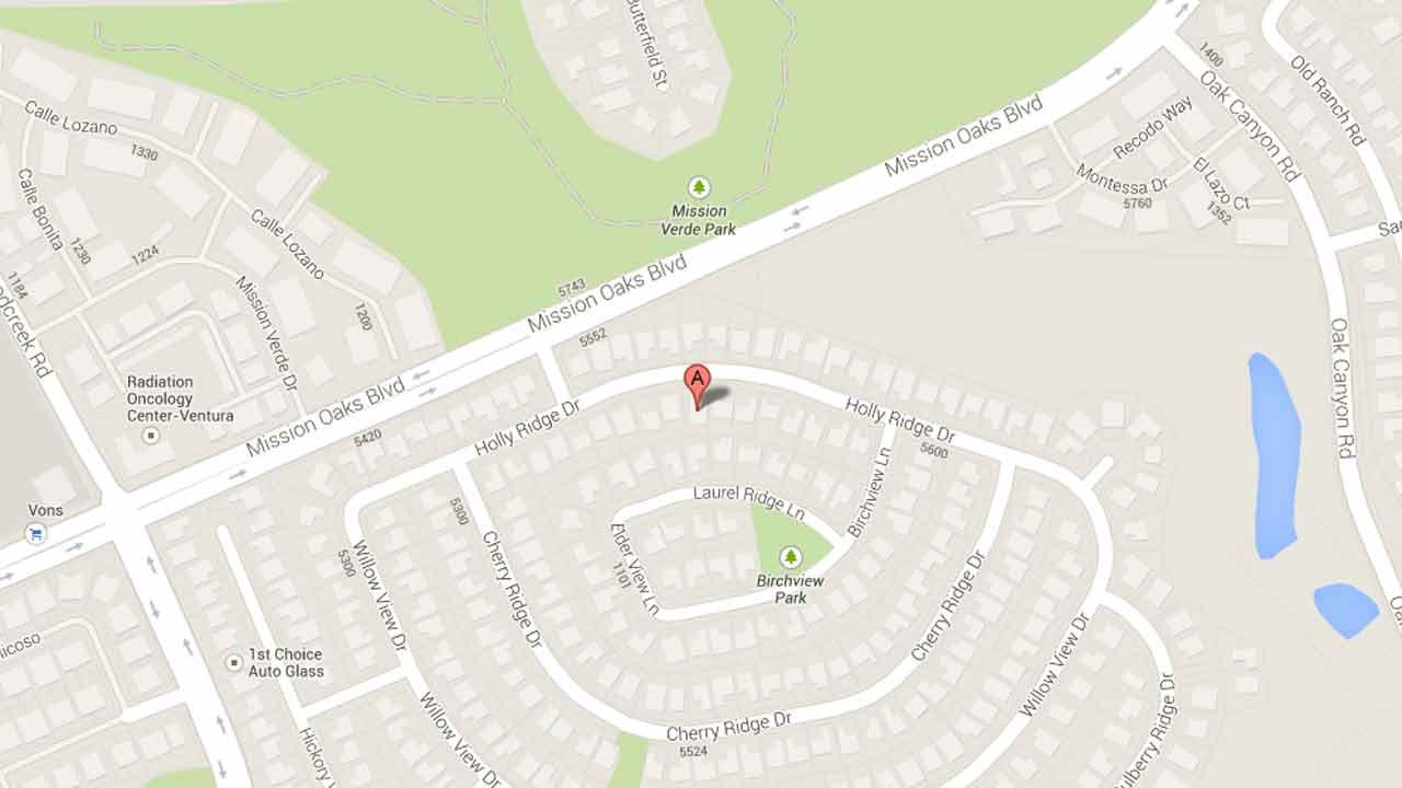 A map indicates the area near the 5300 block of Hollyridge Drive in Camarillo where Omar Ruiz, 26, of Santa Paula was arrested on a parole violation Thursday, Nov. 7, 2013.
