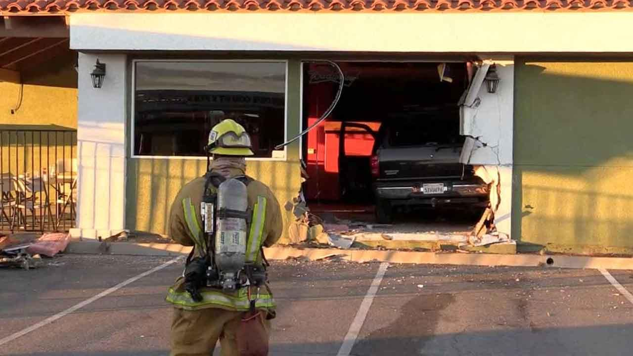 A vehicle slammed into Mariscos La Sirena on the 2900 block of North Perris Boulevard in Perris Sunday, Nov. 24, 2013.