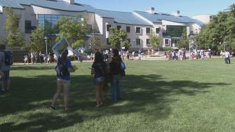 Students are seen on the UC Riverside campus in this undated file photo.