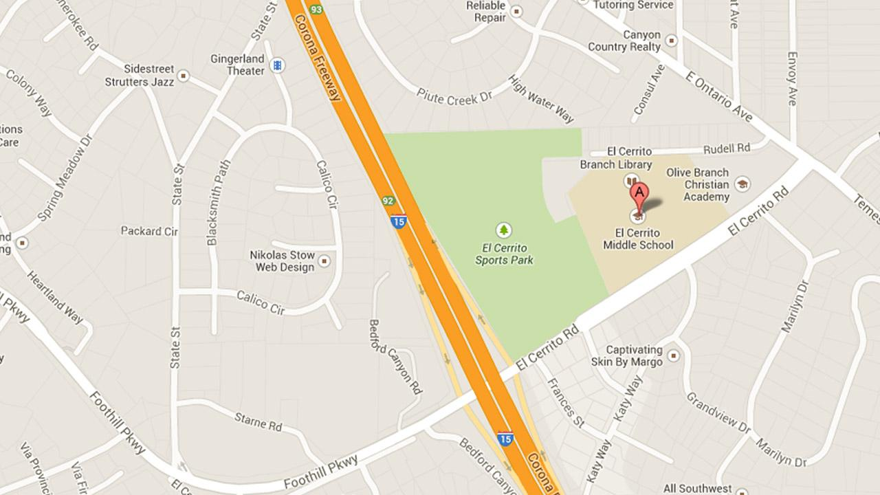 This image from Google Maps indicates the location of El Cerrito Middle School.