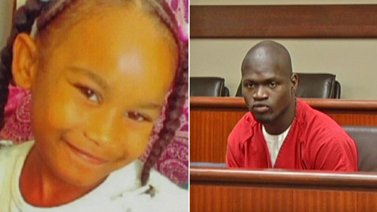 (Left) Tiana Ricks, 6, is shown in an undated file photo. (Right) Keandre Johnson, 21, appears in court in this undated photo.