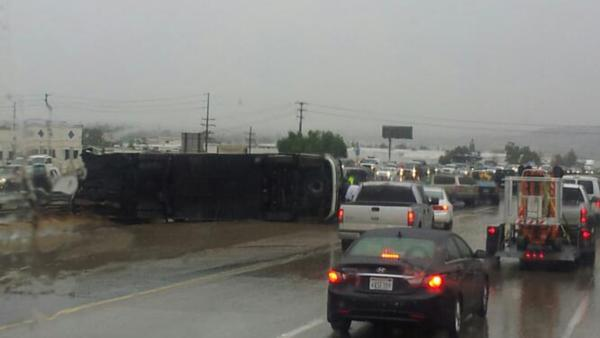 Tour bus overturns on 15 Freeway in Corona