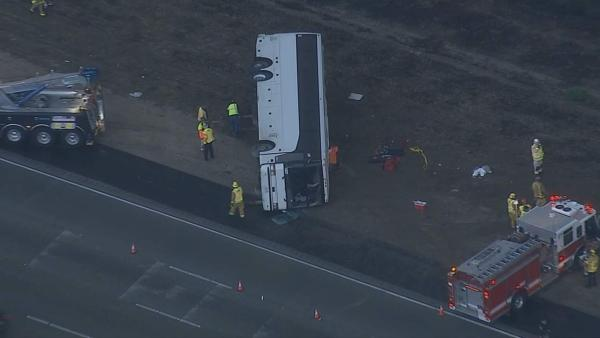 A tour bus was involved in a multi-vehicle-crash on the southbound 15 Freeway