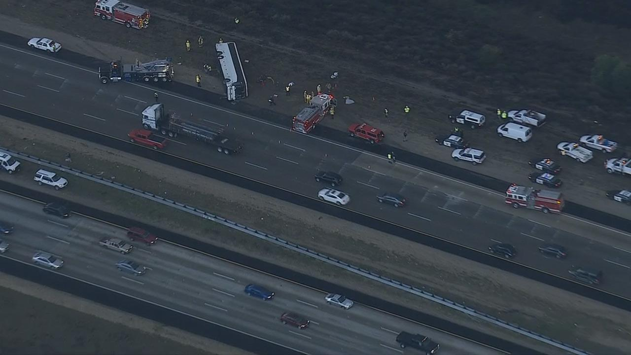 A tour bus was involved in a multi-vehicle-crash on the southbound 15 Freeway near Fallbrook in San Diego County on Thursday, Dec. 19, 2013.