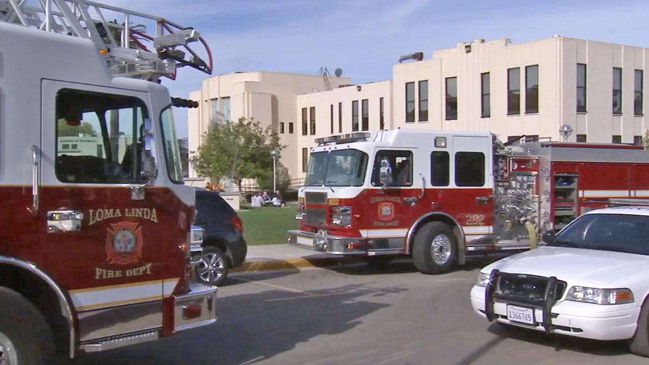 Fire engines are parked outside Loma Linda University following a gas main rupture on Tuesday, Jan. 21, 2014.