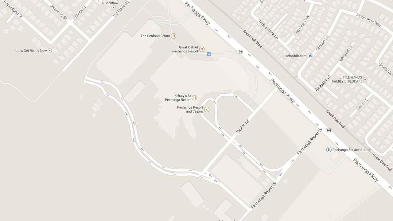A map indicates the area near the Pechanga Resort and Casino on the 45000 block of Pechanga Parkway in Temecula where a man was fatally shot Friday, Feb. 21, 2014.