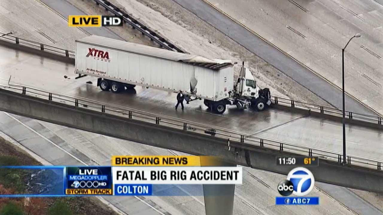 The driver of this big rig died after being thrown from this ramp on the 10 Freeway in Colton. Feb. 28, 2014