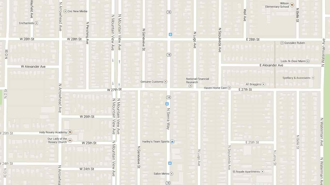 A map indicates the area near the 2700 block of North Sierra Way in San Bernardino where a 14-year-old boy was killed and two others injured following a high-speed car crash Saturday, March 1, 2014.