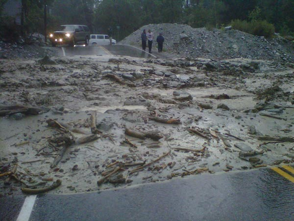 A mudslide is seen in Forest Falls in this photo sent by ABC7 viewer Mark Wirth on Friday, Aug. 17, 2012. <span class=meta>(ABC7 viewer Mark Wirth)</span>