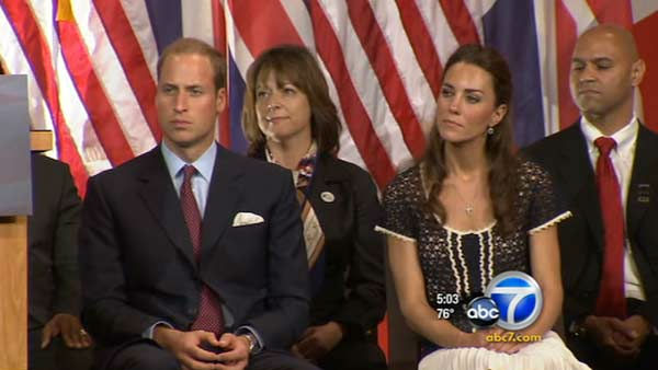 Prince William and Kate, Duke and Duchess of Cambridge, talk with veterans at the Service Nation: Mission Serve 'Hiring Our Heroes Los Angeles' job fair event at Sony Pictures Studios, Sunday, July 10, 2011, in Culver City, Calif.