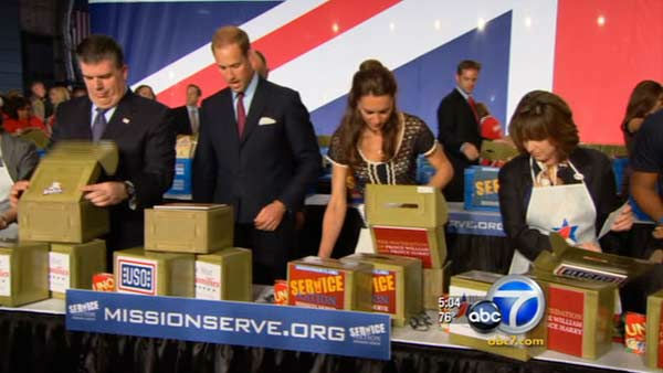 "<div class=""meta image-caption""><div class=""origin-logo origin-image ""><span></span></div><span class=""caption-text"">Prince William, Duke of Cambridge, and Catherine, Duchess of Cambridge, help pack care packages for military children at the Mission Serve: Hiring Our Heroes event Sunday. (KABC Photo)</span></div>"