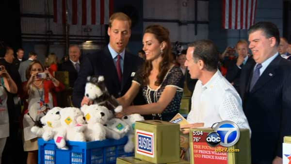 Prince William, Duke of Cambridge, and Catherine, Duchess of Cambridge, help pack care packages for military children at the Mission Serve: Hiring Our Heroes event Sunday. <span class=meta>(KABC Photo)</span>