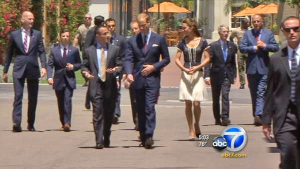 "<div class=""meta image-caption""><div class=""origin-logo origin-image ""><span></span></div><span class=""caption-text"">Prince William and Kate, Duke and Duchess of Cambridge, talk with veterans at the Service Nation: Mission Serve 'Hiring Our Heroes Los Angeles' job fair event at Sony Pictures Studios, Sunday, July 10, 2011, in Culver City, Calif.  (KABC Photo)</span></div>"
