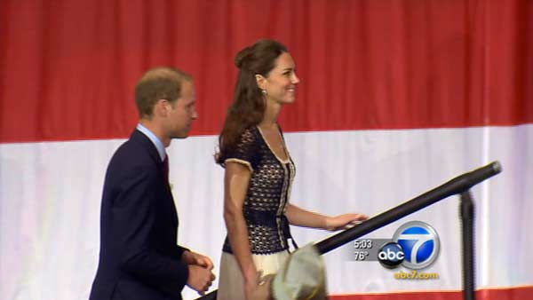 Prince William and Kate, Duke and Duchess of Cambridge, talk with veterans at the Service Nation: Mission Serve &#39;Hiring Our Heroes Los Angeles&#39; job fair event at Sony Pictures Studios, Sunday, July 10, 2011, in Culver City, Calif. <span class=meta>(KABC Photo)</span>
