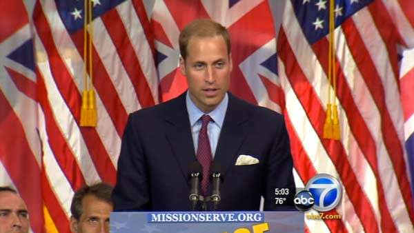 Prince William and Kate, Duke and Duchess of Cambridge, talk with veterans at the Service Nation: Mission Serve 'Hiring Our Heroes Los Angeles' job fair event at Sony Pictures Studio