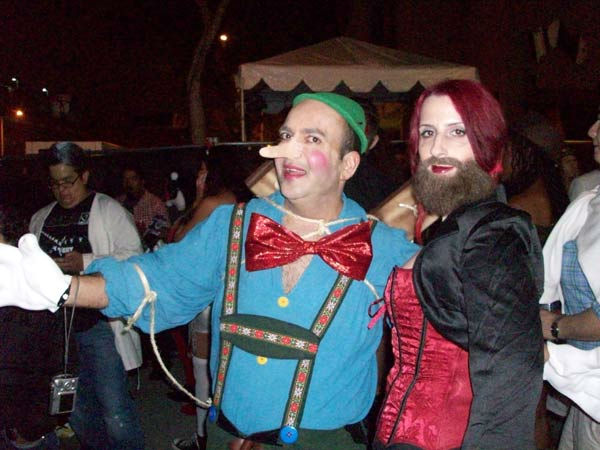 Armen Karapetian and Amber Lockspeiser from Glendale attended the West Hollywood Halloween Costume Carnaval on Oct. 31, 2011. This year&#39;s theme was &#39;Become Your Other.&#39; <span class=meta>(KABC Photo&#47; Vicki Gonzalez)</span>