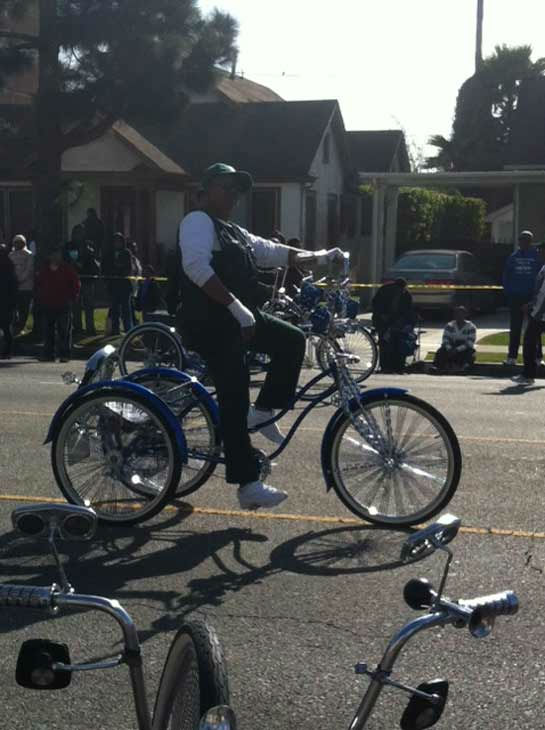 "<div class=""meta ""><span class=""caption-text "">Real Rydaz low-rider custom bikes participates in the 27th annual Kingdom Day Parade in South Los Angeles on Monday Jan. 16, 2012. (KABC Photo)</span></div>"